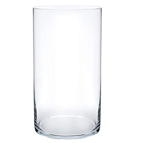 Royal Imports Flower Glass Vase Decorative Centerpiece for Home or Wedding Cylinder Shape, 10