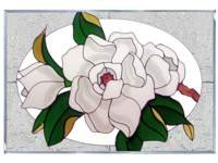 Magnolia Art Glass Suncatcher, Hand Painted Madie in USA ...
