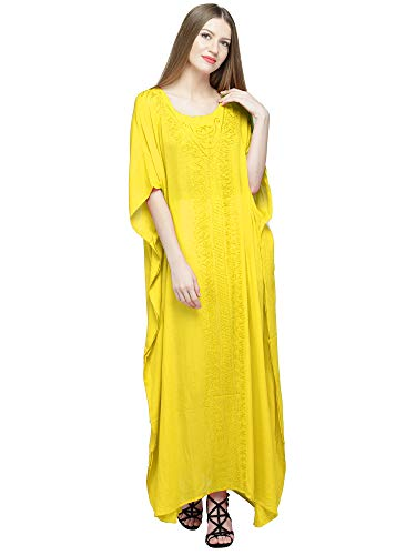 (SKAVIJ Women's Embroidered Kaftans Tunic Beach Cover Up Plus Size (One_Size, Yellow))
