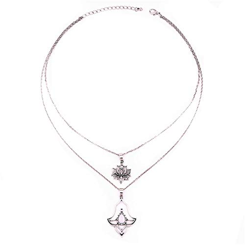 (TraveT Vintage Double-Layer Lotus Flower Pendant Necklace Fashion Multilayer Chain Choker Necklaces for Women Jewelry Gift)
