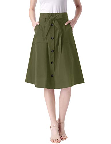 Women's Knee Length Wear to Work Office Swing Skirt with Elastic Waist Army Green L ()