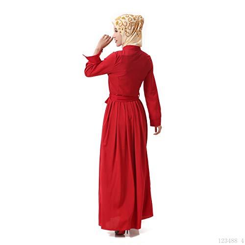 Baronhong Robe Maxi Robe Musulmane Islamic Lin Été Abaya Féminin Rouge