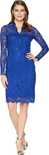 Marina Women's Long-Sleeve Lace Sequin Dress, Royal, 10