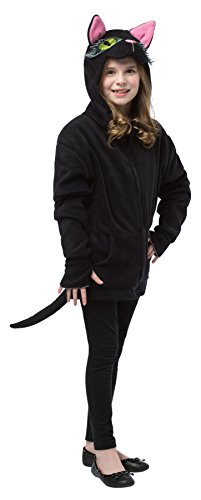 Girl's Kitty Hoodie Cat Theme Outfit Fancy Dress Teen Halloween Costume, Teen (13-16) Black/Pink -