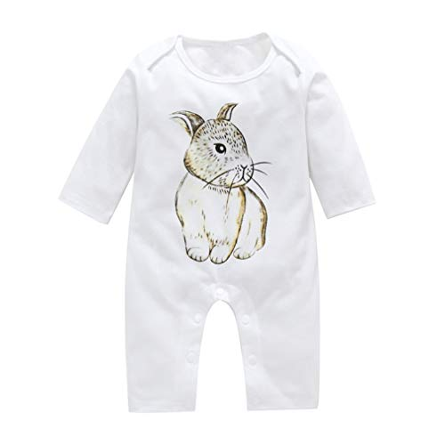 Unisex Newborn Baby One-Piece Romper Jumpsuit Bodysuit Cute Rabbit Cartoon Kids Boys Girls Casual Trouser Onesie Pajamas Outfit (White, -