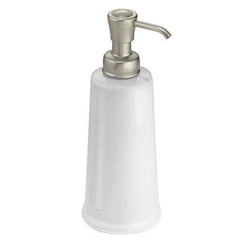 mDesign Modern Bathroom Ceramic Refillable Liquid Soap Dispenser Pump Bottle for Vanity Counter Tops, Kitchen Sink - Holds Hand Soap, Dish Soap, Hand Sanitizer & Essential Oils - White/Satin