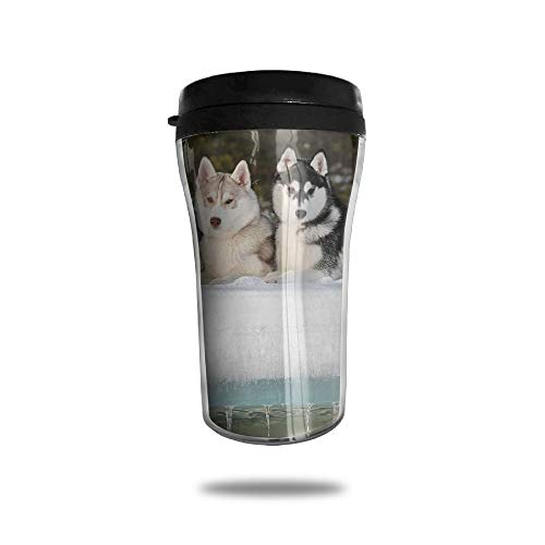 FTRGRAFE Sled Dog Siberian Husky Alaskan Malamute Travel Coffee Mug 3D Printed Portable Vacuum Cup,Insulated Tea Cup Water Bottle Tumblers for Drinking with Lid 8.54 Oz (250 Ml)