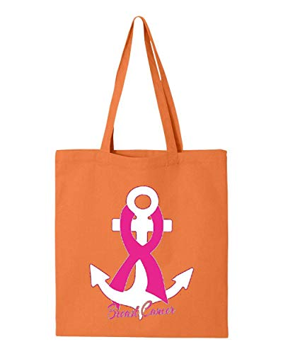 Pink Ribbon Anchor Breast Cancer Awareness Tote Handbags Bags for Work School Grocery Travel (GSOR)
