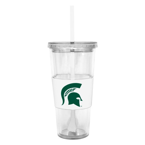NCAA Michigan State Spartans Insulated Tumbler with Rubber Sleeve and Stir Straw, 22-ounce - Ncaa Tumbler