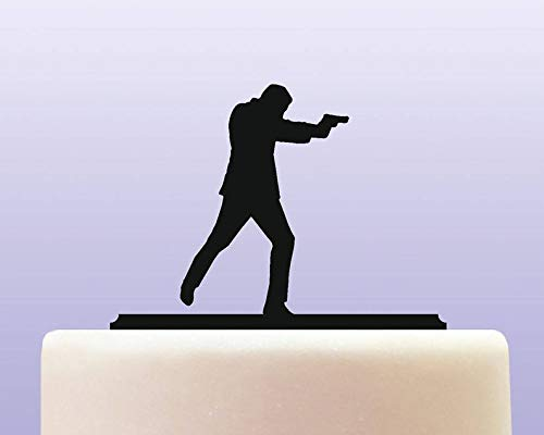 Acrylic Spy Special Agent Private Detective Cake Topper]()