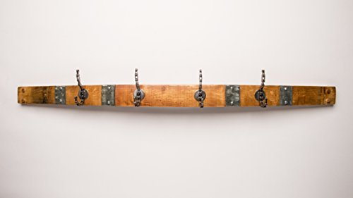 Banded Wine Barrel Coatrack with 4 Bike Chain Hooks by Alpine Wine Design!