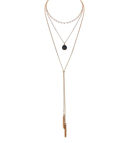VUJANTIRY Women's Tiered Long Necklace Layered Choker Necklace Drusy Lariat Necklace Tassel Pendant Necklace (Gold#2)