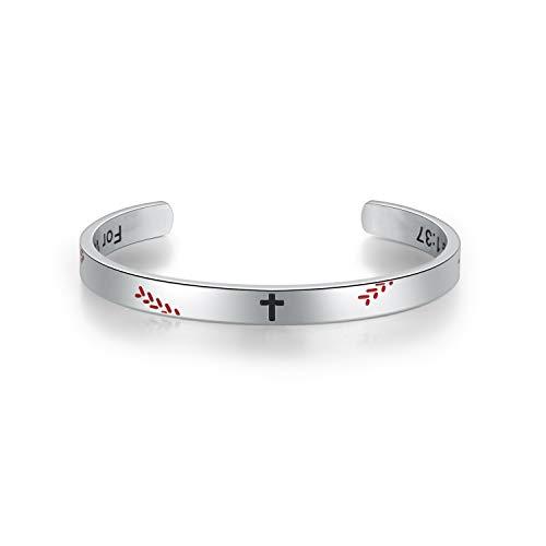 Men's Baseball Softball Cross Inspiring Luke 1:37 Bible Verse Stainless Steel Cuff Bangle -