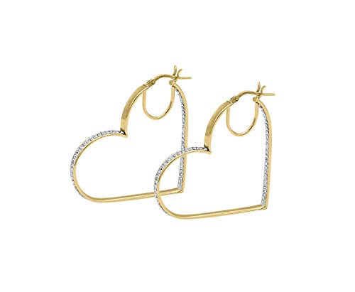 - Amata Fine Jewelry 18K Yellow Gold Plated Sterling Silver Large Heart Hoop Earrings for Women - Crystal Studded with Swarovski Austrian Crystals (40mm Heart Hoop)