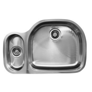Ukinox D537.80.20.10L Modern Undermount Double Bowl Stainless Steel Kitchen Sink by Ukinox