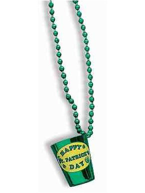 Forum Novelties 56586 St. Patrick's Day Green Shot Glass Beaded Necklace Party Accessory, Large, Multicolor (Pack of 12)