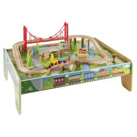 Childrens Wooden Train Table U0026 56 Piece Train Set U0026 Accessories   Childrens  Play Table