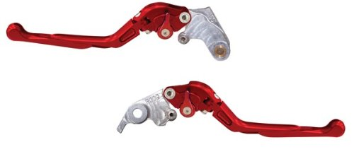 Yana Shiki LS003LCFS-RED/RS003LBFS-RED Red Sliding Folding Adjustable Brake/Clutch Lever Set with Silver Knuckles for Suzuki GSX-R600/750