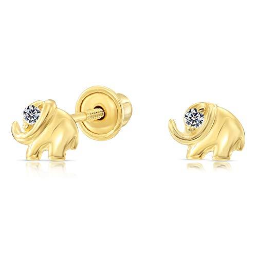 10k Yellow Gold Tiny Elephant CZ Stud Earrings with Secure - Elephant 10k Earrings