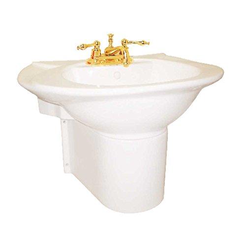 Half Pedestal Sink Wall Mount Bathroom Basin Bone | Renovator's Supply
