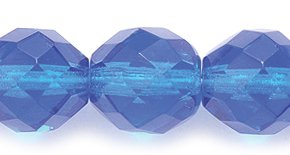 Preciosa Czech Fire 10mm Polished Glass Bead, Faceted Round, Transparent Sapphire, 75-Pack