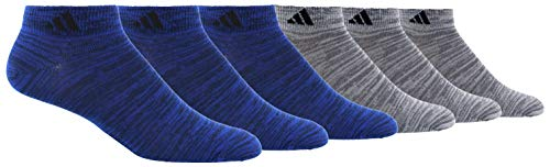 adidas Mens Superlite Low Cut Socks (6-Pair), Royal - Navy Space Dye/Black Onix - Clear Onix Space D, Large, (Shoe Size 6-12)