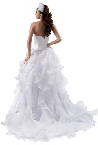 Women Dresses Line A Organza Wedding Ivory Strapless Train Court Dearta s dnUEwzxFF