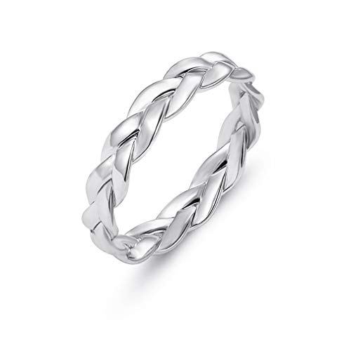 CHASIROMA Women's Band Ring Silver Tone Couple Wedding Promise Celtic Knot - Knots Band Continuous Celtic