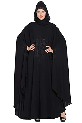 Mushkiya Simple Yet Very Elegant Embroidered long Irani kaftan in Free Size for girls, ladies, women, Burkha
