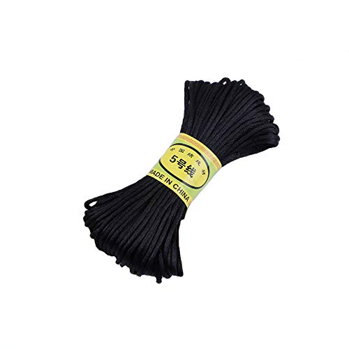 (IME 2 MM Bugtail Satin Cord Satin/rattail Silk Cord for Necklace Bracelet Beading Cord Jewelry and Craft Cord 30 Yards (Black))