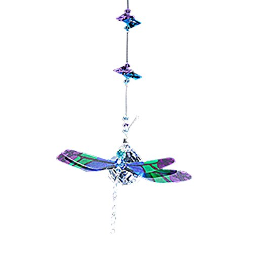 Dragonfly Figurine in Blue & Purple with 30mm Crystal Clear Ball Bead - Rainbow Maker - Crystal Suncatcher - Home, Living Room, Bedroom, Kitchen, Car Decoration - Porch Decor - Sun Catcher - Hangings Crystal Glass Ornament