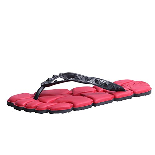 Corriee 2019 Summer Most Wished Mens Flip-Flops Indoor and Outdoor Thong Sandals Red