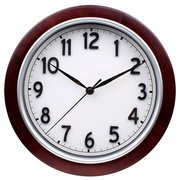 Mahogany Wood Frame Wall Clock (Mainstays 11.5-In Round Wall Clock,)