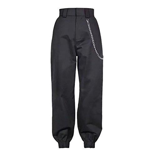 Nicholas Wit 2018 Fashion Chain Military Camouflage Pants Women Army Black High Waist Loose Trousers Street Jogger Sweatpants