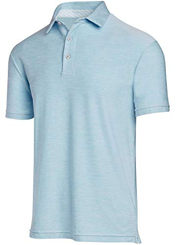 (Jolt Gear Golf Shirts for Men - Dry Fit Short-Sleeve Polo, Athletic Casual Collared T-Shirt Sky Blue)