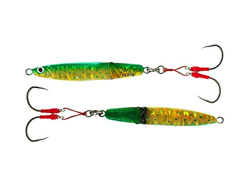 Savage Gear Slim Squish Body Erratic Fall Jig 5/0 Hooks, Dorado, 4.25