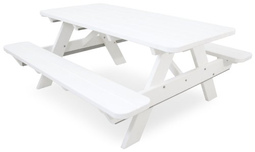 Ivy Terrace IVPT172-WH Classics Picnic Table, 6-Feet, White -
