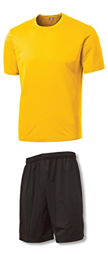 Soccer Training Uniform Kit- size Youth M - Gold Jersey/Black - Uniform Gold Soccer