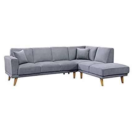 Amazon.com: Furniture of America Pila L-Shaped Sectional in ...