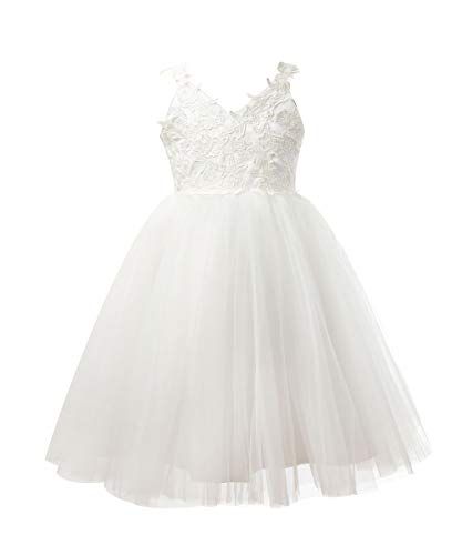 Miama Ivory Lace Tulle Backless Wedding Flower Girl Dress Junior Bridesmaid Dress,Ivory,6 ()
