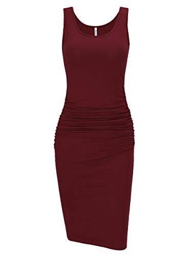 Missufe Women's Ruched Casual Knee Length Bodycon Sundress Basic Fitted Dress (Sleeveless Burgundy, X-Small)