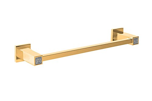Skip Diamond Wall 24-inch Bathroom Towel Bar Rail Holder, Wall Mount Bathroom Accessories Towel Rack Rail Holder, Made in Spain (European Brand) (Polished Gold) by Hispania bath