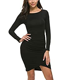 Women's Casual Long Sleeve Ruched Bodycon Sundress...