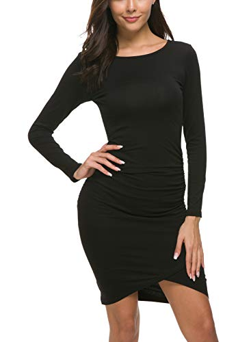 Missufe Women's Casual Long Sleeve Ruched Bodycon Sundress Irregular Sheath T Shirt Dress (Long Sleeve Black, X-Small)