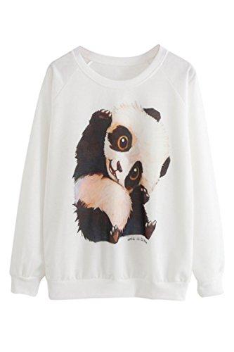 Pink Queen® Womens Pullovers Long Sleeve Print Crew Neck Sweatshirts Tops (One Size, Panda)