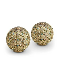 (L'Objet Gold Plated Salt & Pepper Shakers, Multi-color Swarovski Crystals)