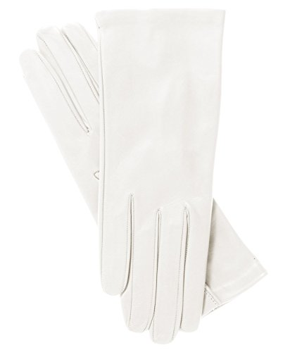 Fratelli Orsini Women's Italian Silk Lined Leather Gloves Size 7 Color 4-White (Italian White Leather Made)