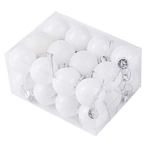 Icemaris 24PCS Christmas Tree Ball Baubles Hanging Ornament Wedding Decoration Colored Hanging Balls (White)