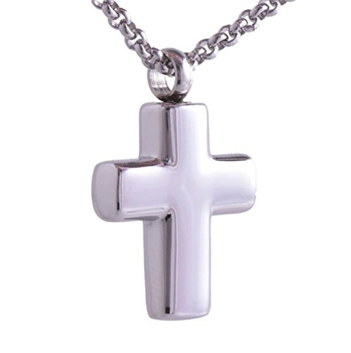 LiFashion LF Stainless Steel Name Date Customized Christian Cross Cremation Urn Ash Holy Cross Pendant Necklace for Men Women Keepsake Memorial,Free Engraving ()