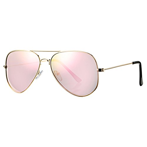 COASION Classic Aviator Sunglasses for Men Women, Polarized Mirror Lens, 100%UV Protection with Leather Case (Gold/Pink - Face Round Male Sunglasses